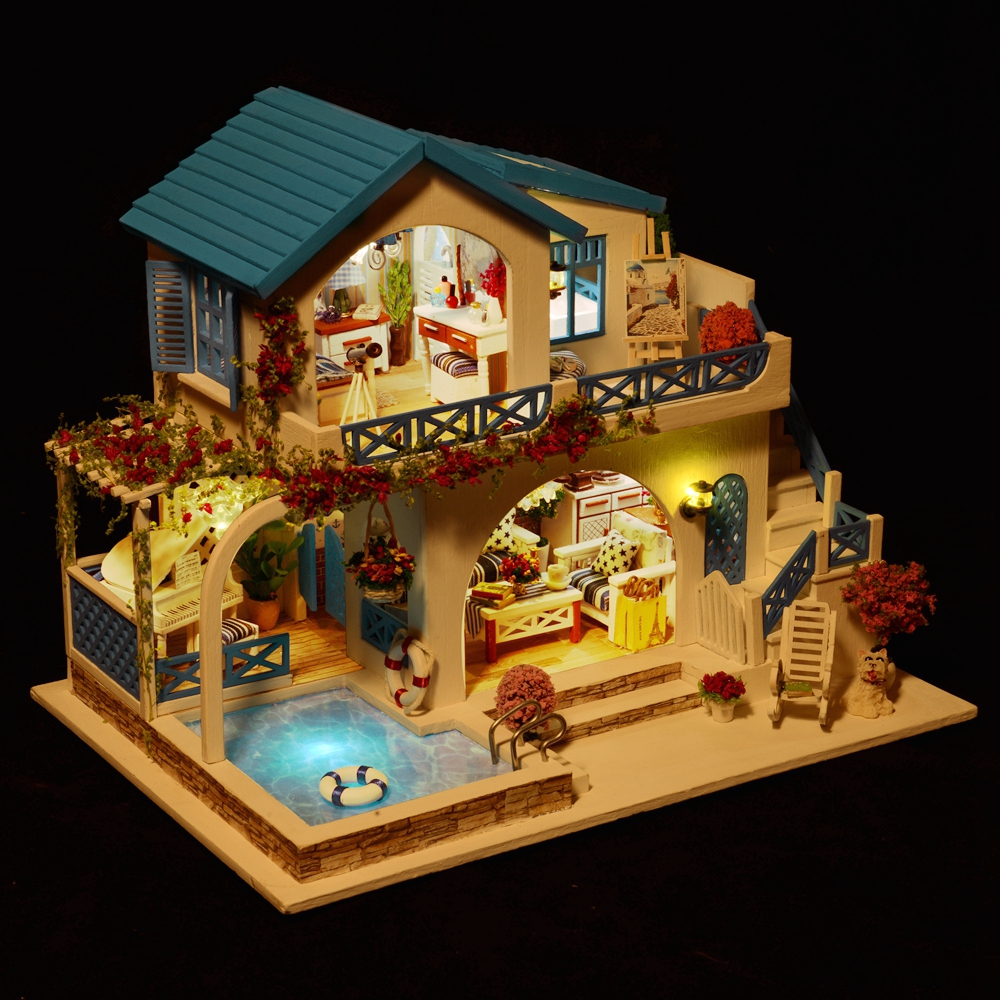 3D Handmade Doll House Wooden Diy Miniatura Doll Houses Furniture Kit Diy Puzzle Assemble Dollhouse Toys Led Light Birthday Gift-in Doll Houses from Toys & Hobbies    1