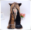 2016 new red wolf  hoods cute animal feux fur hat cap