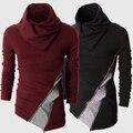 Primavera / inverno bloco de cor fino camisola de manga comprida outerwear camisola de gola alta frete grátis