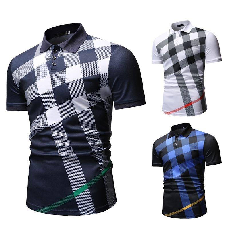 Polo   Shirt Men Plaid Pattern New arrival Men's Casual Fashion   POLO   Shirt for Summer 2019