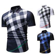 Camiseta polo masculina, estampa xadrez, nova chegada, casual, moda masculina, verão 2020