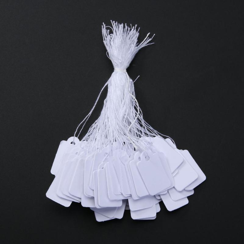 500PCs/Bag Wholesale Jewelry Price Tag With Display String Lable Custom Printed Clothing Price Tags White