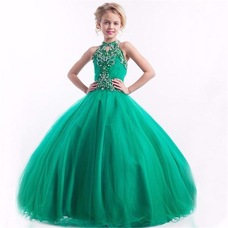 Green Ball Gown Elegant Crystal Beads   Flower     Girl     Dresses   Floor Length First Communion   Dresses   For   Girls   Kids Evening Gowns