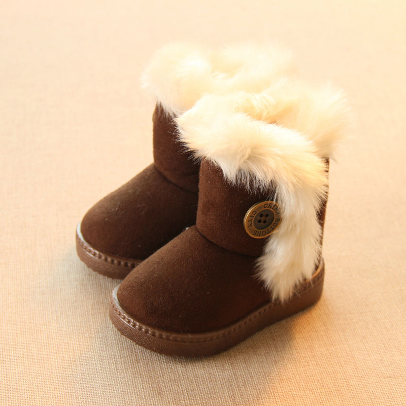 Hinzufügen Wolle Warmer Schnee Stiefel Für Kinder rutschfeste Flache Runde Kappe Mädchen Baby Schöne Stiefel 2017 Neue Winter 4 Farben