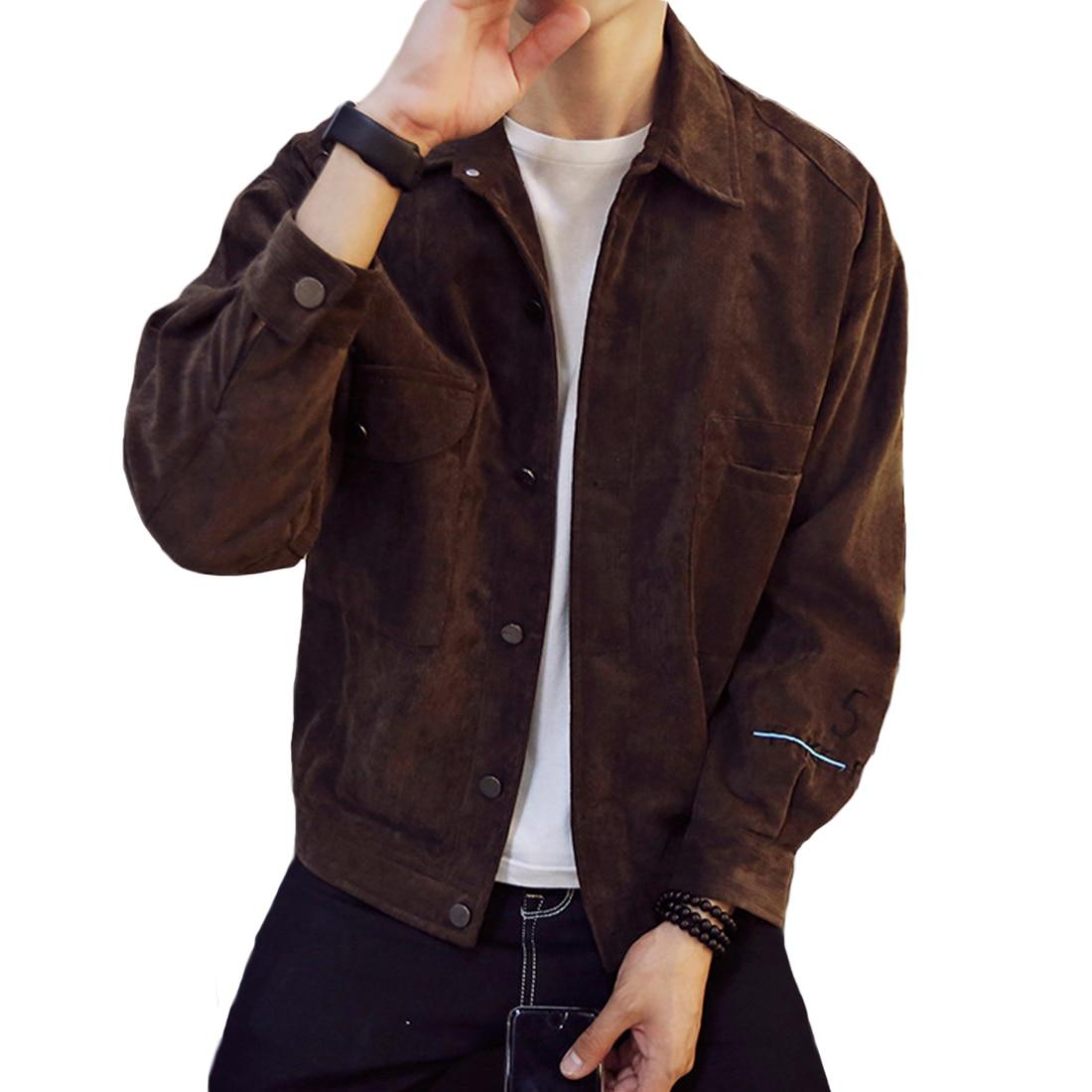 Mens jacket online - 2017 Spring Autumn Hot Corduroy Jackets Men Long Sleeve Turn Down Collar Slim Solid Bomber Jacket
