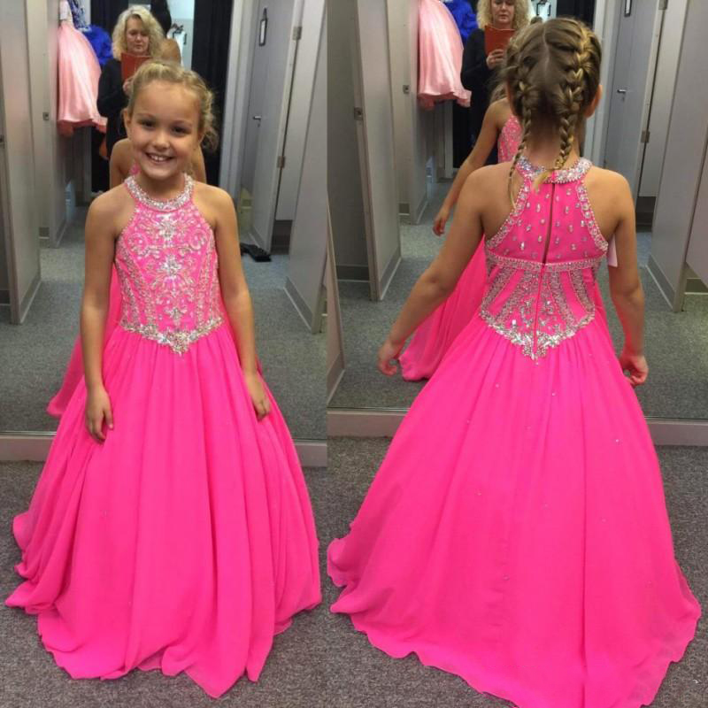 2018 Lovely Fuchsia Beaded Crystals   Girls   Pageant   Dresses   A Line Halter Neck Kids Celebrity Evening Prom Party Gowns Custom Made
