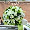 Романтический белая роза свадебный букет искусственный свадебные цветы свадебные букеты букет buque де noiva де mariage
