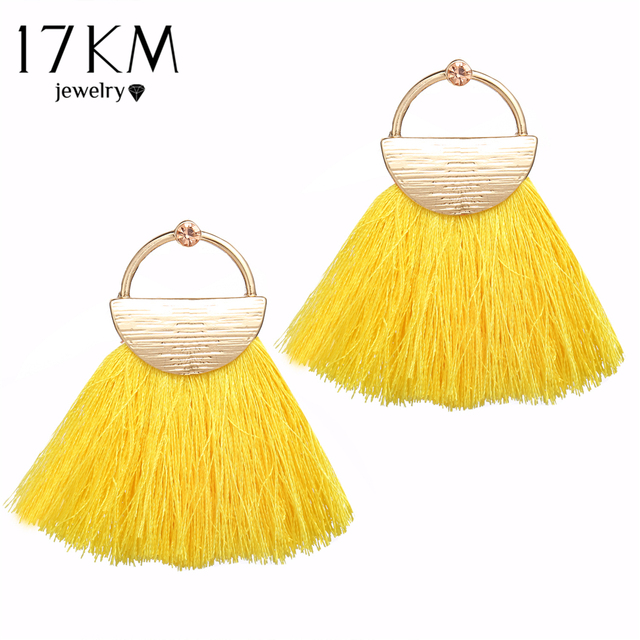 17KM Bohemian Yellow Tassel Drop Earrings For Women Girl 2018 Fashion Fabric Wed
