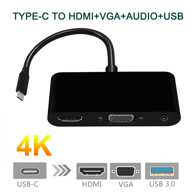 USB C Type C To HDMI VGA 3.5mm Audio Adapter 3 In 1 USB 3.1 USB-C Converter Cable For Laptop Macbook Google
