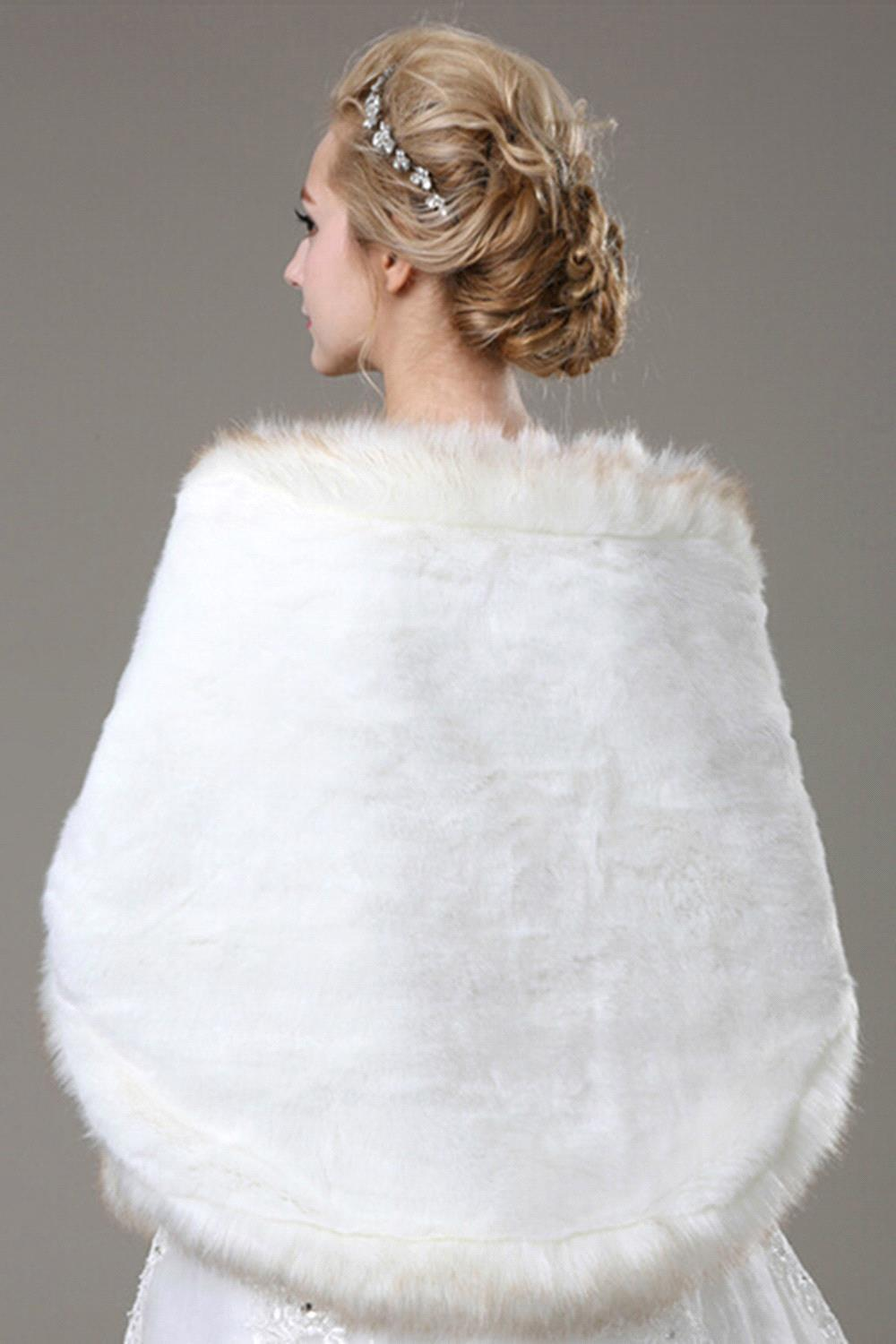 Купить с кэшбэком Mix White Black Burgundy Bridal Wedding Cape Stole Faux Fur Shawl Wrap Cloak Women Bolero Shrug Coat Wedding Accessories