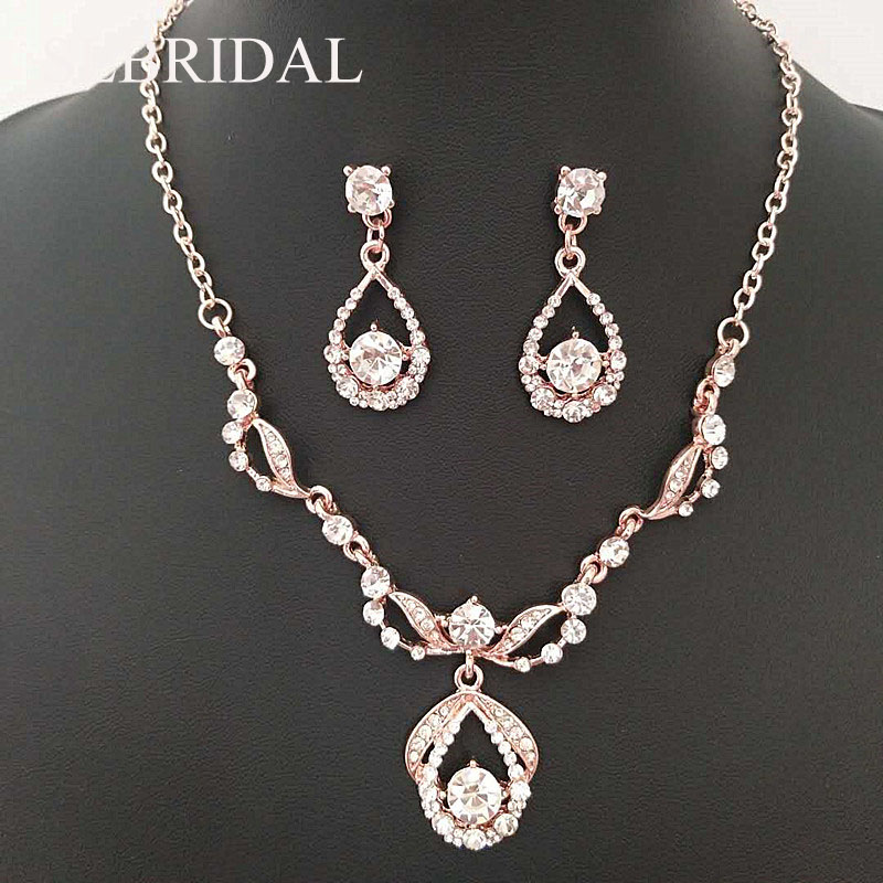 SLBRIDAL Silver & Rose Gold Clear Rhinestones Crystals Wedding Jewelry Set Bridal Necklace Earrings Set Party Jewelry Sets Women viennois luxury silver color jewelry sets for women blue crystals chain necklace earrings set bridal set wedding jewelry set
