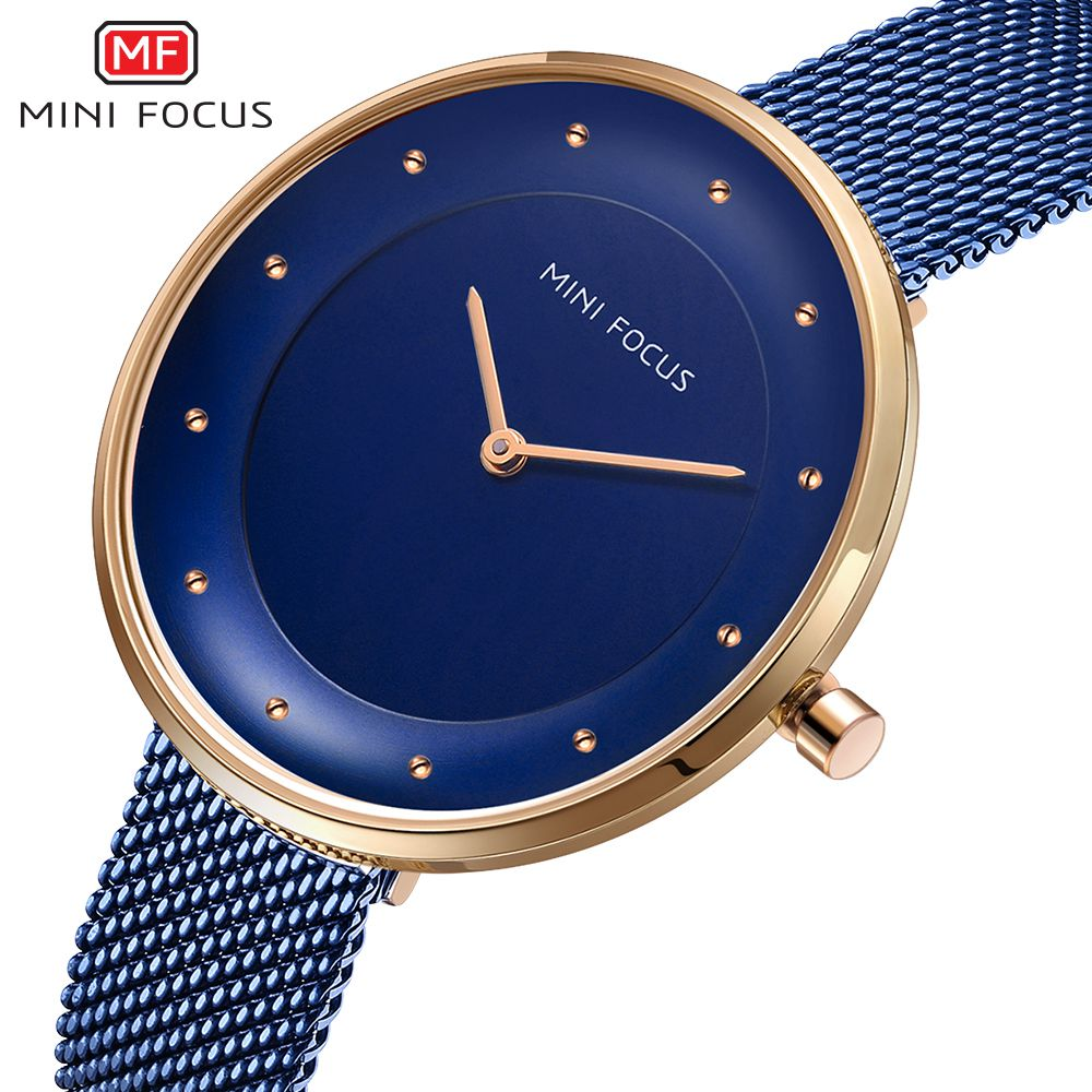 купить MINI FOCUS Top Brand Luxury Blue Women Watches Stainless Steel Clock Ladies Quartz Wrist Watch Relogio Feminino reloj mujer по цене 976.83 рублей