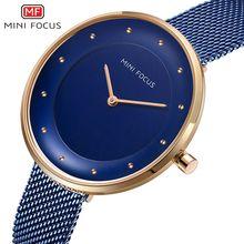 MINI FOCUS Top Brand Luxury Blue Women Watches Stainless Steel Clock Ladies Quartz Wrist Watch Relogio Feminino reloj mujer цена 2017