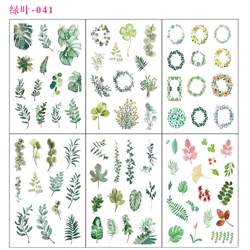6 Sheets/pack Green Leaves Decorative Washi Stickers Scrapbooking Stick Label Diary Stationery Album Stickers