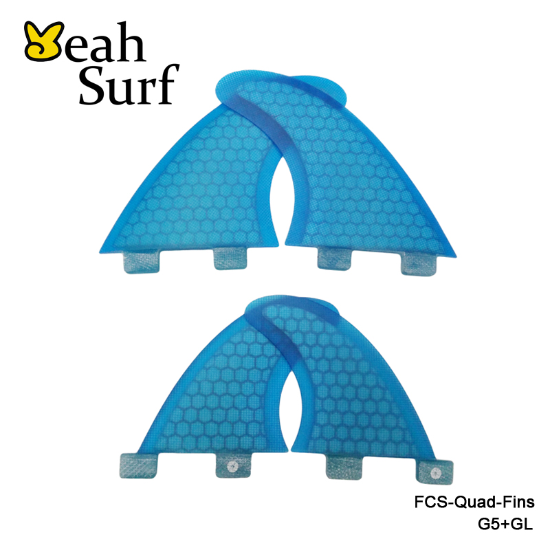 FCS Ailettes G5 + GL En Nid D'abeille Quilhas Planche De Surf Ailettes Surf Propulseur FCS-Quad-Fin prancha de Fiber de Verre Ailettes