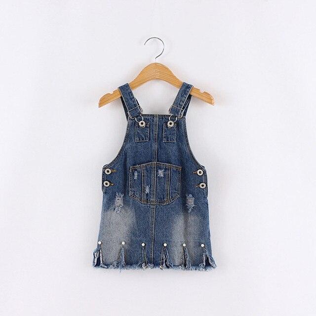2-8 лет новорожденных Девочек джинсовые подтяжки юбки дети новая мода жемчужина отверстие случайные джинсы юбка