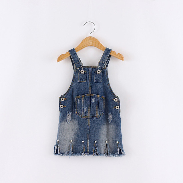 2-8 years old baby Girls denim suspenders skirt kids new fashion pearl hole casual jeans skirt