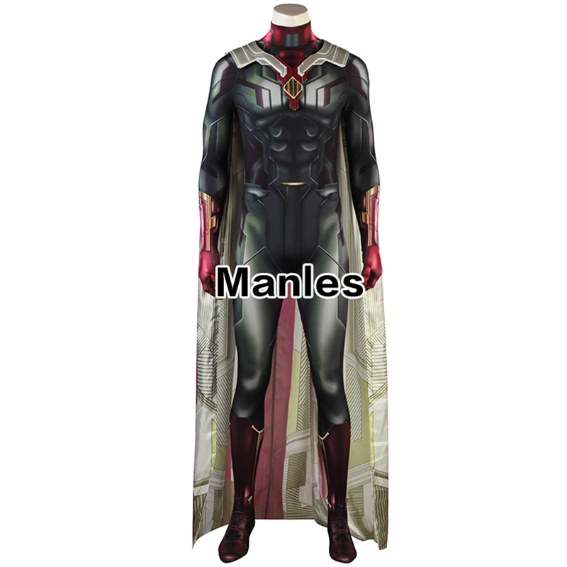 Image 2 - Avengers Infinity War Costume Man Vision Cosplay Superhero Outfit Halloween Suit Adult 3D Shade Men Clothes Jumpsuits Cloak-in Movie & TV costumes from Novelty & Special Use