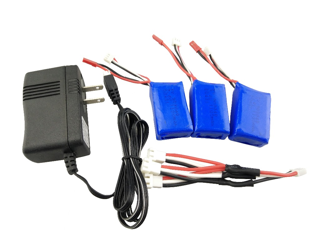 Wltoys 3 x 1100mAh 25C Battery Charging Set 7.4V Charger With Charging Cable For Rc Car Parts A949 A959 A969 A979 L959