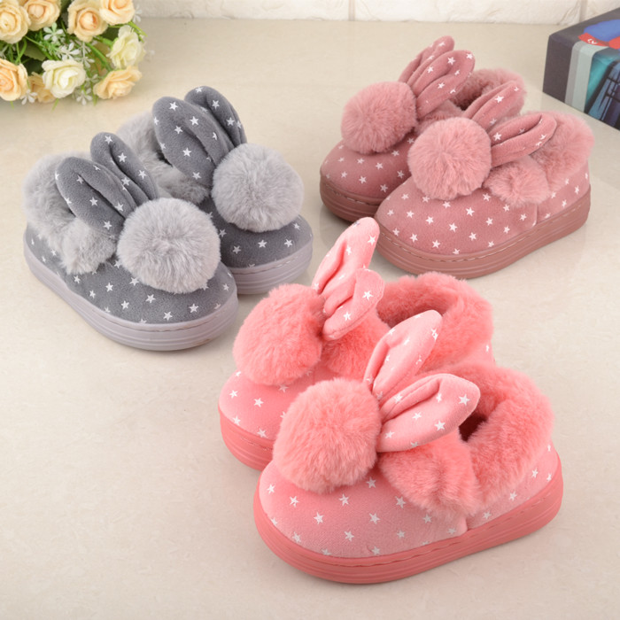 Children'S Cotton Shoes Kids Home Slippers Boys And Girls Baby Cute Rabbit Ears Plush Ball Thickening Warm Indoor Shoes Fashion fashion toddler girls baby american flag pattern cute rabbit ears headband