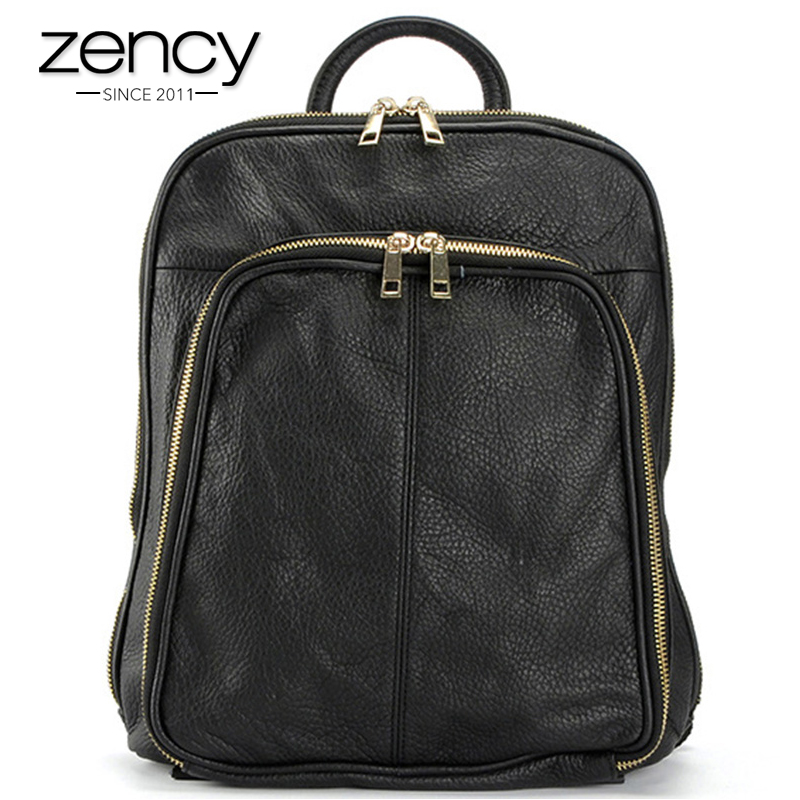 Zency Brand New Arrival Women Backpack Double Straps 100 Toy Layer Genuine Leather Large Capacity Casual