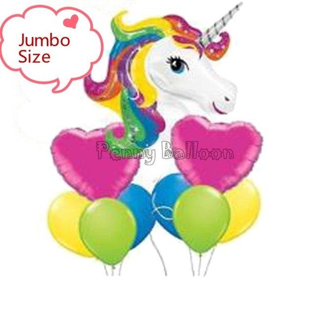 Jumbo Taille 9 Pcs Lot Arc En Ciel Licorne Ballon Joyeux