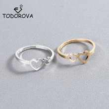 Todorova Romantic Adjustable Hollow Out Double Heart Rings Opening Toe for Woman Anillos Gift Jewelry Dropshipping