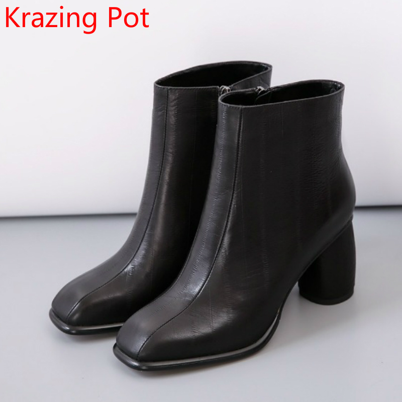 2018 Large Size Cow Leather Square Toe High Heel Fashion Winter Boots Runway Warm Classic Office Lady Zipper Ankle Boots L97 акустика центрального канала piega classic center large macassar high gloss