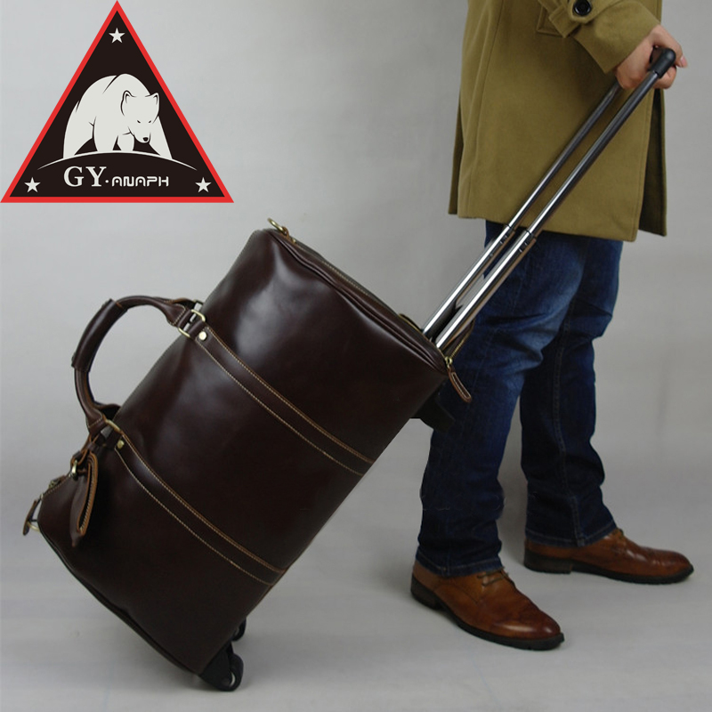 ANAPH Rolling Luggage/ Mens Calfskin Leather Airplane Suitcase/ Travel Wheeled Duffle Bag/ 21 Inch Business Classic Reise Koffer