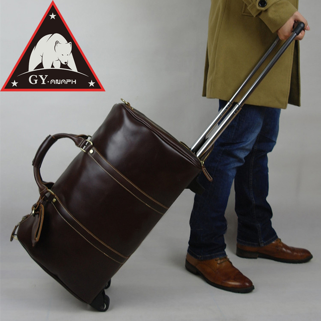 111aa2ea1ec ANAPH Unisex Rolling Luggage Calfskin Leather Airplane Suitcase  Travel  Wheeled Duffle Bag  21