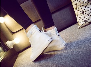 Image 4 - JCHQD moda Sneakers alte scarpe di tela scarpe casual da donna bianco piatto cestino femminile stringate scarpe da ginnastica solide Chaussure Femme