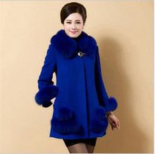 New 2016Middle-aged Mother Installed Winter Clothing Fox wool Collar Women Coat Temperament Big yards Pure color Women CoatG1433