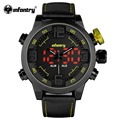 INFANTRY Luxury Mens Sports Wristwatch Yellow LED Digital Male Clock Army Dual Time Watch Leather Rubber Strap Relogio Masculino