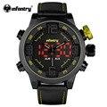 Infantry mens luxo esportes relógio de pulso digital led amarelo relógio masculino exército dual time relógio de couro pulseira de borracha relogio masculino