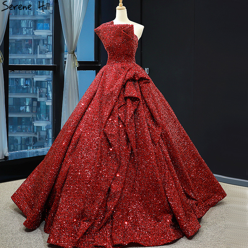 Wine Red Strapless Sexy Sparkle Wedding Dress 2019 Off Shoulder Luxury Bridal Gowns Real Photo 66838 Cusotm Made