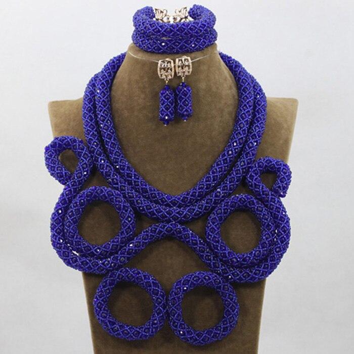 Роскошный Королевский синий свадебный нагрудник массивное ожерелье набор хрустальный костюм свадебный женский ювелирный набор 2017 Бесплат
