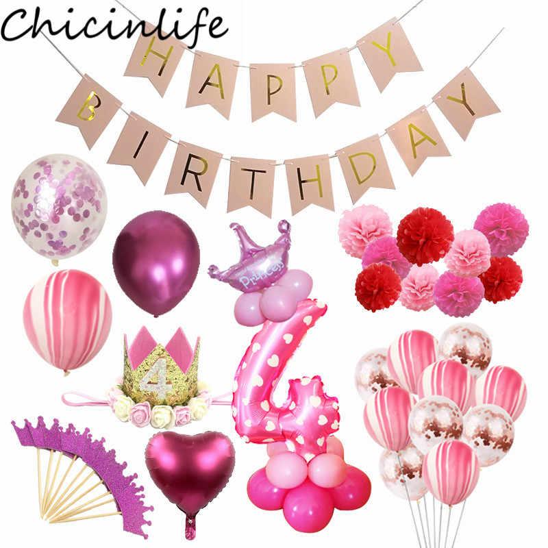 Chicinlife 4th ハッピー Birhday 装飾番号ブルーピンク 4 バルーンカップケーキトッパーわら少年少女 4 歳の誕生日パーティー suppllies