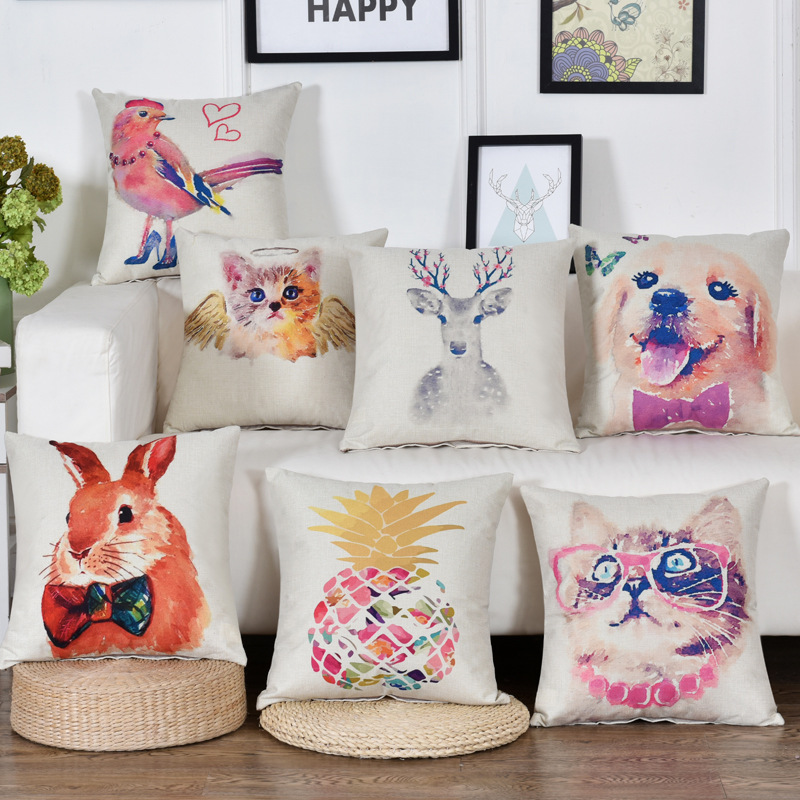 Colorful Watercolor Animal Print Cushion Cover Funny High Heels Bird Angel Cat Decorative Throw Pillows Deer Dog Pillow Covers
