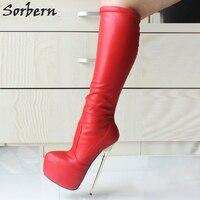 Sorbern 22 см на очень высоком каблуке сапоги для Для женщин большие размеры 36–46 Металл золото на толстом каблуке высокие сапоги до колена на пл