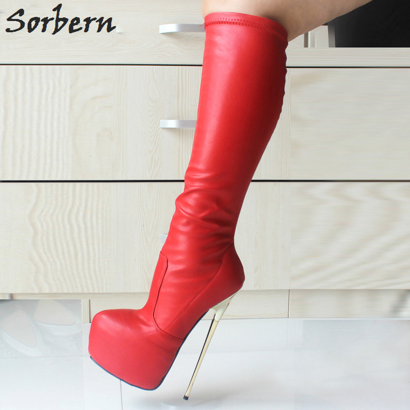 Sorbern 22Cm Super High Heel Boots For Women Plus Size 36-46 Metal Gold Heels Thick Platform Knee High Boots Sexy Shoes Woman spring autumn women thick high heel mid calf boots platform woman short boots high heels shoes botas plus size 34 40 41 42 43