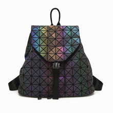 Women Laser Luminous Backpack Large Capacity Geometric Shoulder Bag Student Big School Bags Teenage Girl Hologram Bao