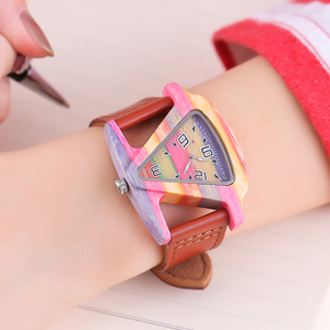 Image 1 - ALK bamboo triangle colorful Women wood wrist watch ladies wooden watches 2020 leather strap female male quartz wristwatch saati