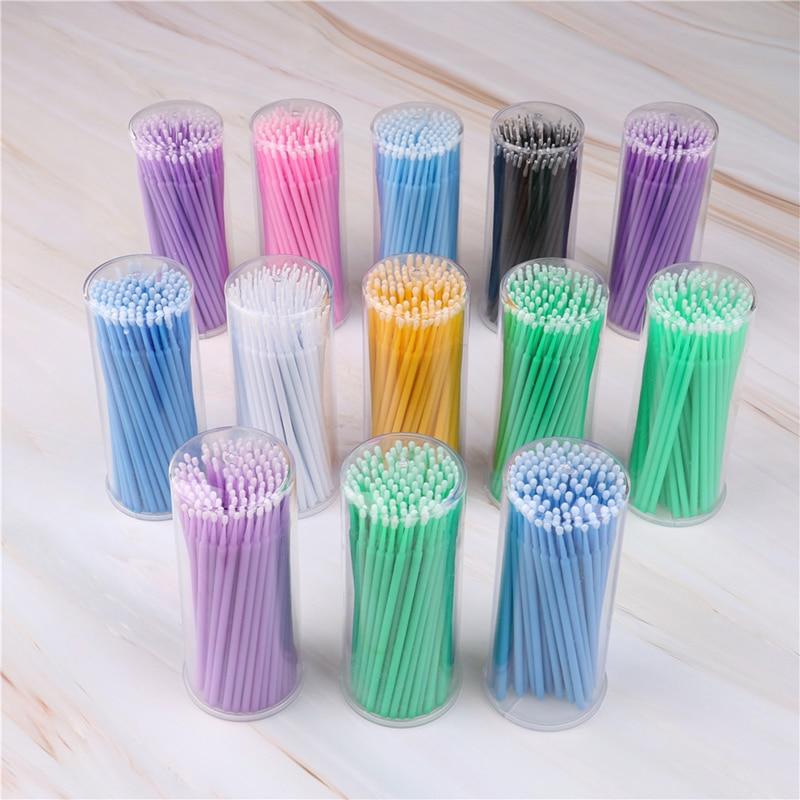 100 Pcs/Pack Disposable Micro Brush Microbrush Applicators Eyelash Extensions Remove False Eyelashes Pro Cotton Swab