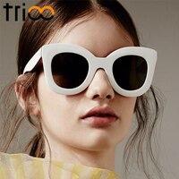 TRIOO 2017 Fashion Luxury Glossy Sunglasses Cat Eye Black Sexy Ladies Shades UV400 Protection Oculos Sun