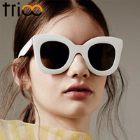 TRIOO 2017 Fashion Luxury Glossy Sunglasses Cat Eye Black Sexy Ladies Shades UV400 Protection Oculos Sun
