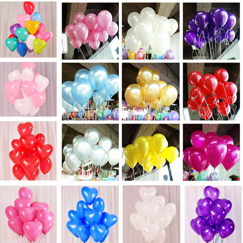 10pcs 12inch 2.2g Pink Pearl Latex Balloon Inflatable Wedding Decorations Air Ball Happy Birthday Party Supplies Heart Balloons