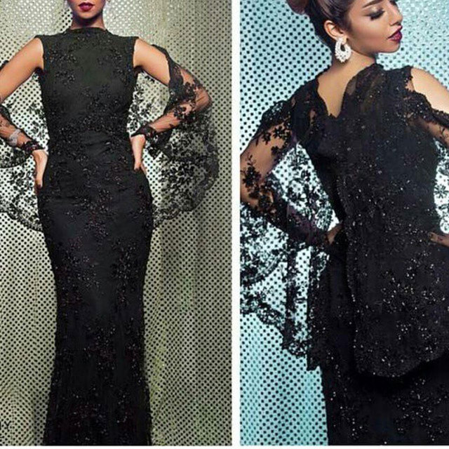 Jewel Sleeveless Floor Length Mermaid Party Dress Appliqued Sequins Lace Arab  Evening Gowns with Cape c6798c9cf10f