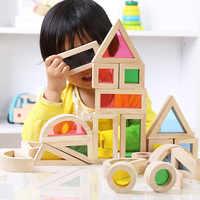 Super Creativo Acrilico Arcobaleno Giocattolo Educativo Mucchio Torre di Blocchi di Costruzione per Bambini Fai Da Te In Legno Assemblaggio Building Block