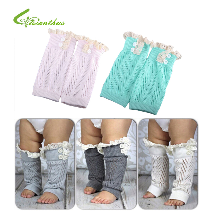 1 Pair New Soft Winter Warm Kids Girls Baby Trendy Knitted Lace Leg Warmers Infants Toddlers Trim Boot Cuffs Socks Knee High pair of chic flouncing hollow out weaving knitted leg warmers for women
