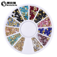 Colorful 2MM 3MM Sharp Crystal Wheel Nail Stickers Decoration 3D DIY Art Glitter Jewelry Rhinestones Manicure tools